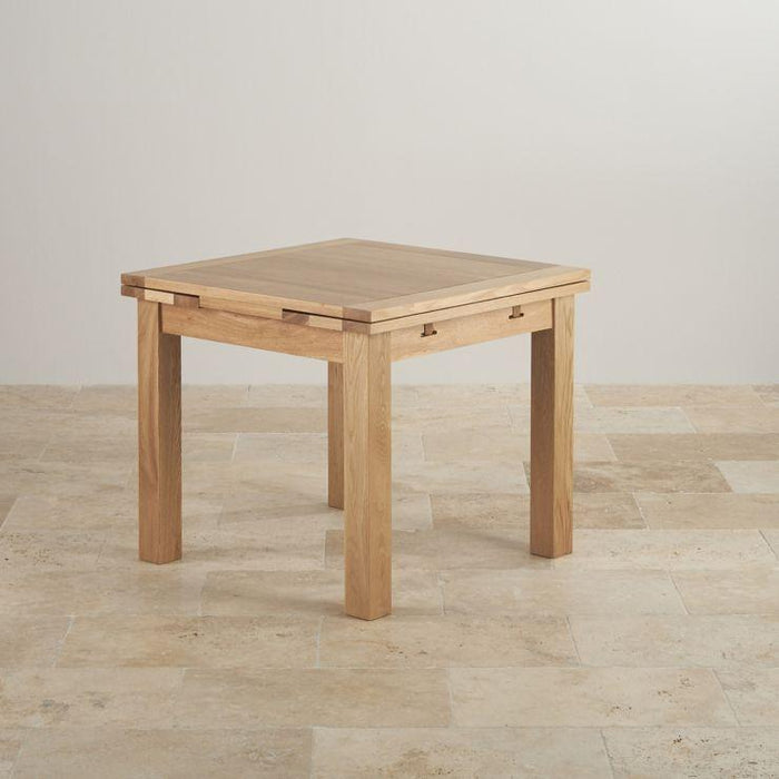 Chamfer Square Natural Solid Oak Extendable Dining Table