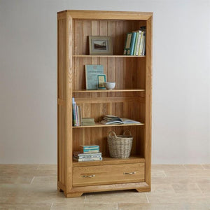 Chamfer Tall Bookcase with Drawers - Oak Furniture Store & Sofas