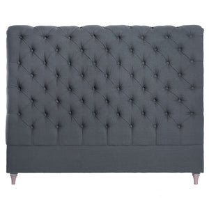 CHARLOTTE LINEN HEADBOARD IN GREY - QUEEN - Oak Furniture Store & Sofas