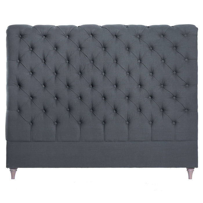 CHARLOTTE LINEN HEADBOARD IN GREY - QUEEN