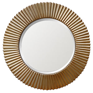 CRINKLED ROUND MIRROR - GOLD - Oak Furniture Store & Sofas