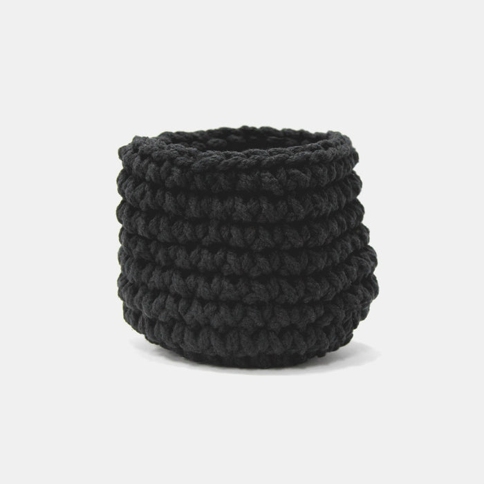 CROCHET BASKET LARGE - BLACK