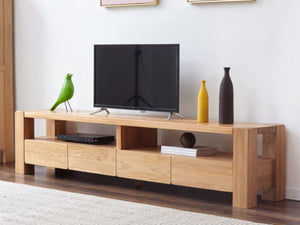 Cuba Solid Oak Entertainment Unit - Oak Furniture Store & Sofas