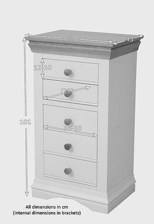 French Cottage Natural Oak and Painted 5 Drawer Chest - Clearance - Oak Furniture Store & Sofas