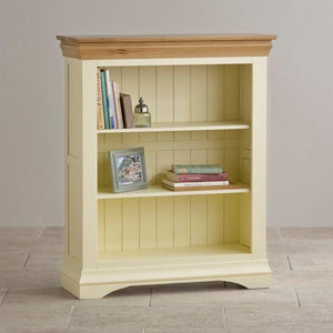 French Cottage Natural Oak and Painted Small Bookcase - Oak Furniture Store & Sofas