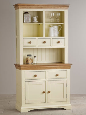 French Cottage Natural Oak and Painted Small Hutch Dresser - Oak Furniture Store & Sofas