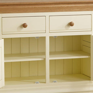 French Cottage Natural Oak and Painted Small Sideboard - Oak Furniture Store & Sofas