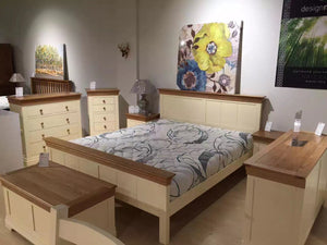 French Cottage Natural Oak and Painted Super King-Size Bed - Clearance - Oak Furniture Store & Sofas