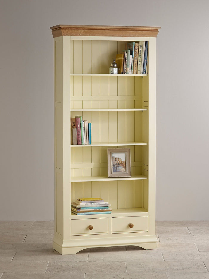 French Cottage Natural Oak and Painted Tall Bookcase - Clearance