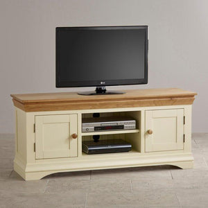 French Cottage Natural Oak and Painted Widescreen TV Cabinet - Oak Furniture Store & Sofas