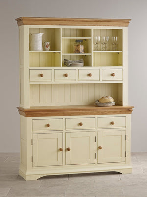 French Cottage Natural Oak Large Sideboard with Hutch - Oak Furniture Store & Sofas