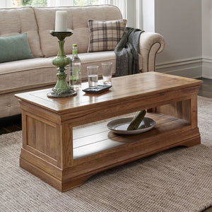 French Rustic Solid Oak Coffee Table - oak-furniture-store-sofa