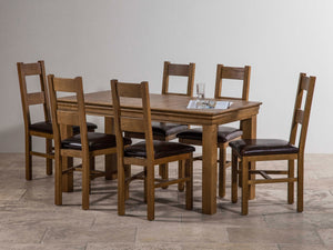 French Rustic Solid Oak 1.5M Dining Table - Oak Furniture Store & Sofas