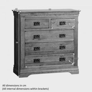 French Rustic Solid Oak 2+3 Chest Of Drawers - Oak Furniture Store & Sofas