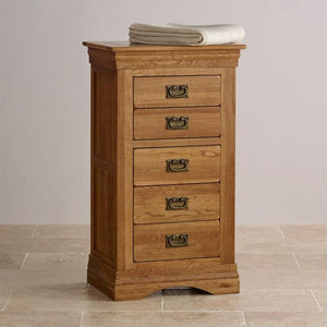 French Rustic Solid Oak 5 Drawers Wellington - Oak Furniture Store & Sofas