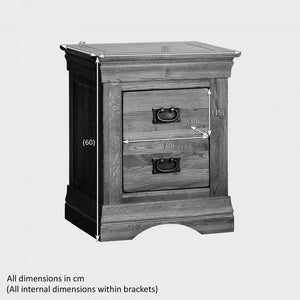 French Rustic Solid Oak Bedside Table - Oak Furniture Store & Sofas