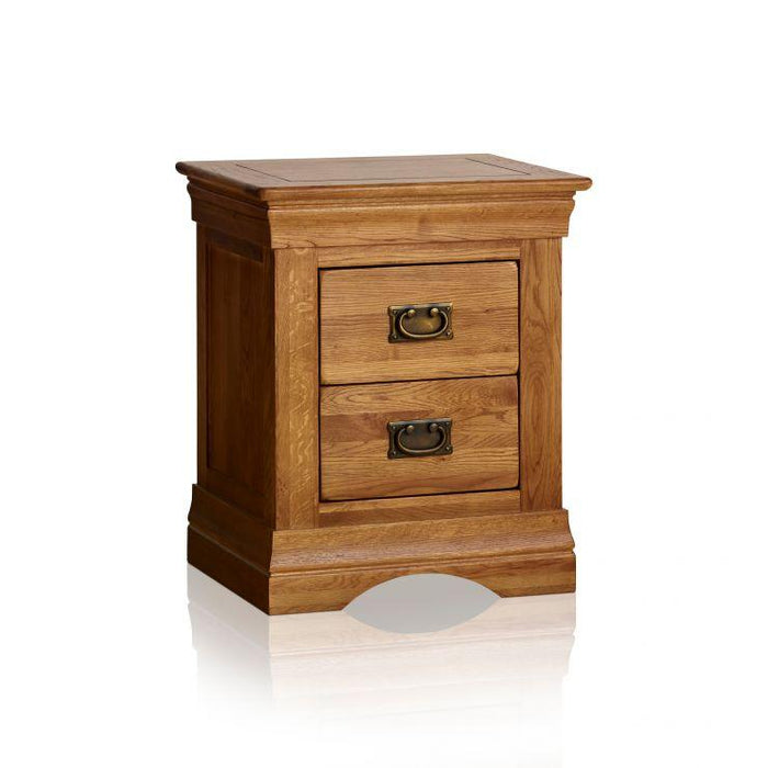 French Rustic Solid Oak Bedside Table