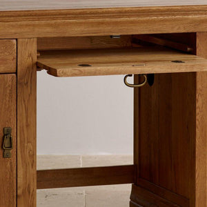 French Rustic Solid Oak Computer Desk - Oak Furniture Store & Sofas
