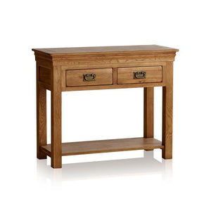 French Rustic Solid Oak Console Table - Oak Furniture Store & Sofas