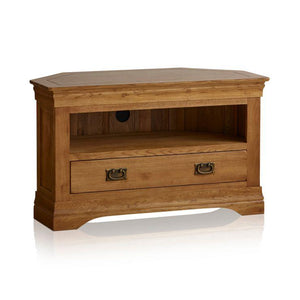 French Rustic Solid Oak Corner TV Cabinet - Oak Furniture Store & Sofas