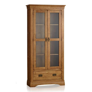 French Rustic Solid Oak Display Cabinet - Oak Furniture Store & Sofas