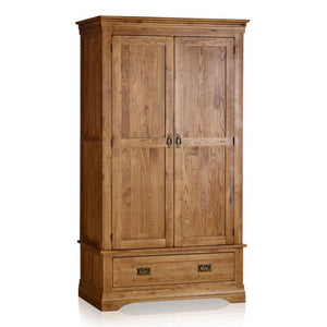 French Rustic Solid Oak Double Wardrobe - Oak Furniture Store & Sofas