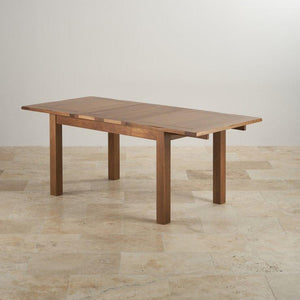 French Rustic Solid Oak Extendable Dining Table - Oak Furniture Store & Sofas