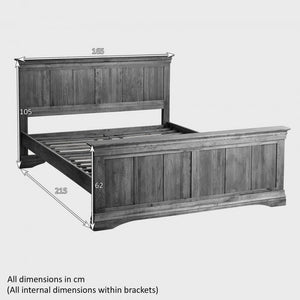 French Rustic Solid Oak King-Size Bed - Oak Furniture Store & Sofas