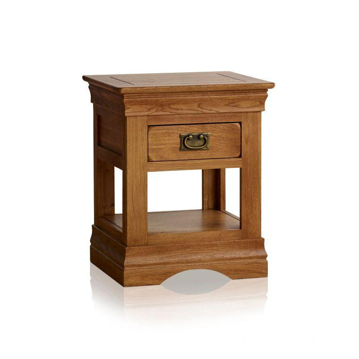 French Rustic Solid Oak Lamp Table