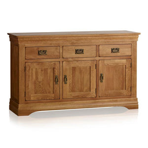 French Rustic Solid Oak Large Sideboard - Oak Furniture Store & Sofas