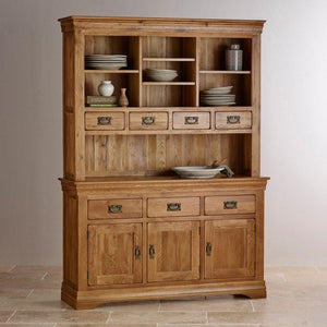 French Rustic Solid Oak Large Sideboard With Hutch Dresser - Oak Furniture Store & Sofas