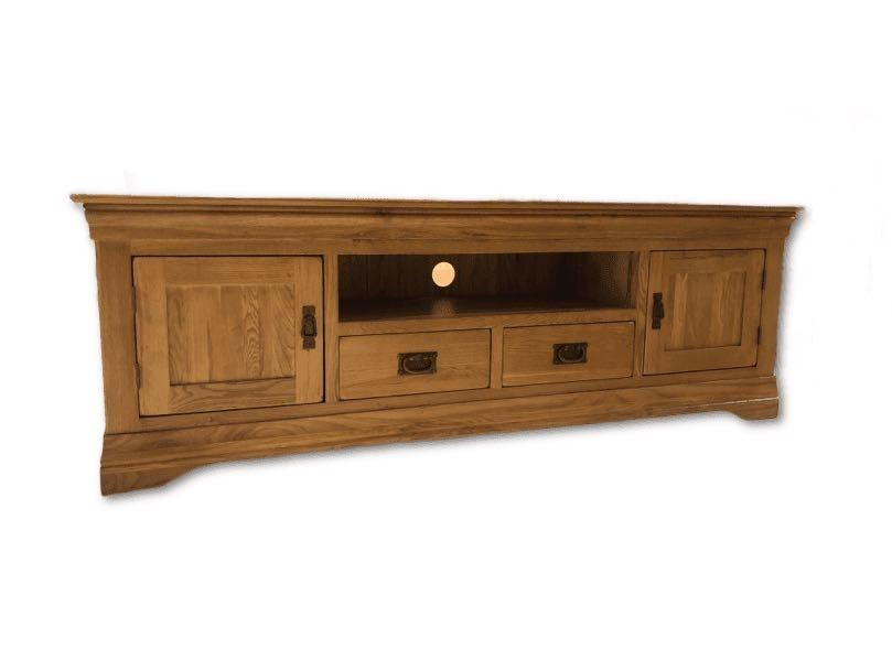 French Rustic Solid Oak Large Widescreen TV Cabinet - Oak Furniture Store & Sofas