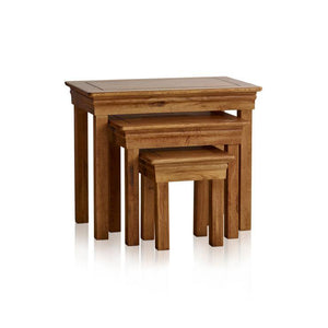 French Rustic Solid Oak Nest of Tables - Oak Furniture Store & Sofas