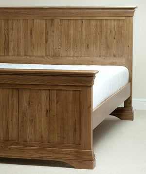 French Rustic Solid Oak Queen-Size Bed - Oak Furniture Store & Sofas