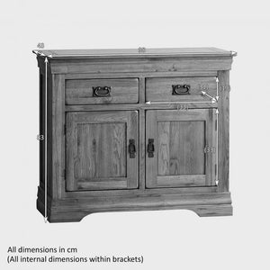 French Rustic Solid Oak Small Sideboard - Oak Furniture Store & Sofas