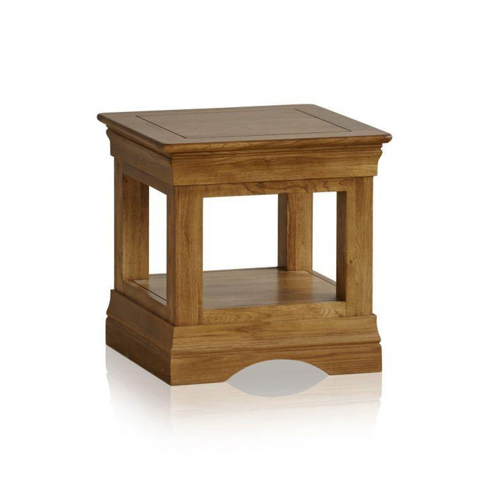 French Rustic Solid Oak Square Lamp Table