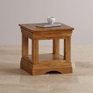 French Rustic Solid Oak Square Lamp Table - Oak Furniture Store & Sofas