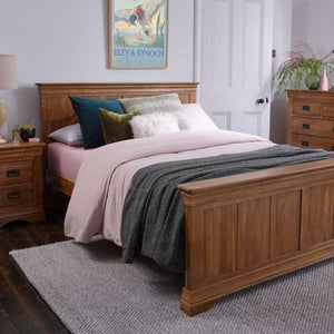 French Rustic Solid Oak Super King-Size Bed - Oak Furniture Store & Sofas
