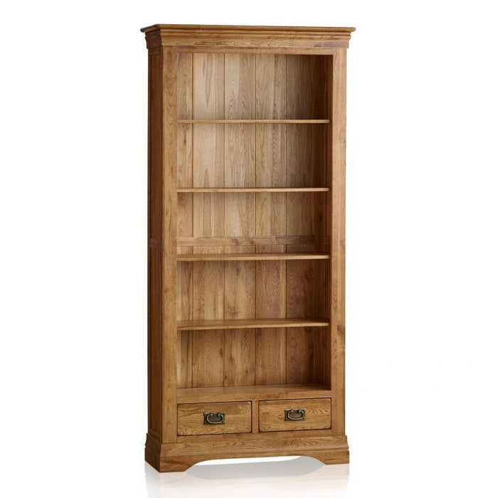 French Rustic Solid Oak Tall Bookcase