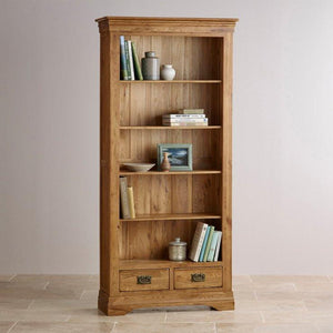 French Rustic Solid Oak Tall Bookcase - Oak Furniture Store & Sofas