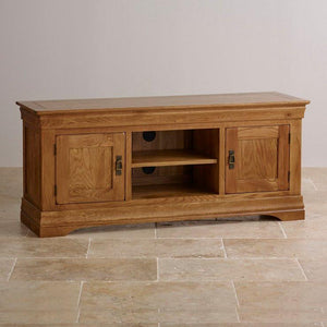 French Rustic Solid Oak Widescreen TV Cabinet - Oak Furniture Store & Sofas