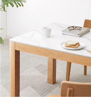 Humbie Natural Solid Oak Large Dining Table with Marble Top (Coming Soon!) - Oak Furniture Store & Sofas