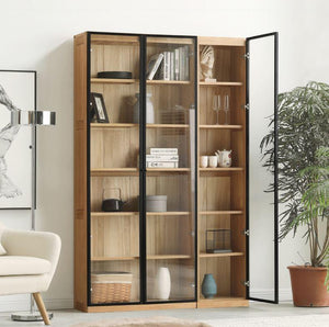 Odense Combination Neutral Oak Display/Bookcase Cabinet - Oak Furniture Store & Sofas