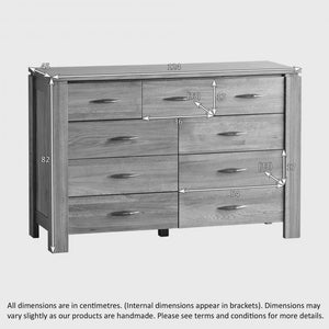 Osaka Natural Solid Oak 9 Drawer Chest - Oak Furniture Store & Sofas