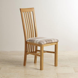 Osaka Solid Oak Slat Back Dining Chair with Fabric Pad - Oak Furniture Store & Sofas