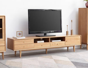 Oslo Natural Solid Oak Large Entertainment Unit - Oak Furniture Store & Sofas