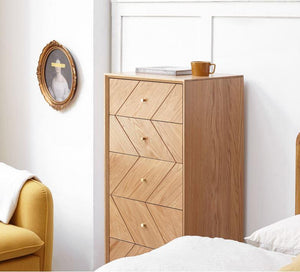 Parquet Solid Oak 5 Drawers Tallboy - Oak Furniture Store & Sofas