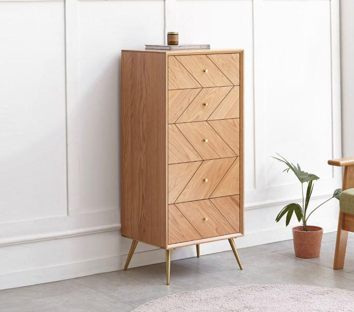Parquet Solid Oak 5 Drawers Tallboy
