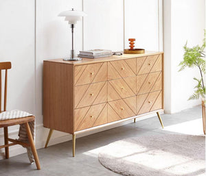 Parquet Solid Oak 9 Drawers Chest Sideboard - Oak Furniture Store & Sofas