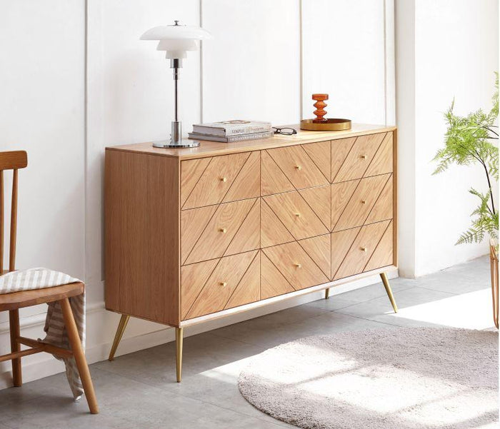 Parquet Solid Oak 9 Drawers Chest Sideboard